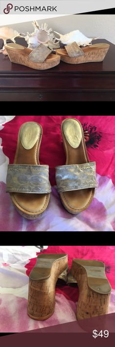 """🆕Listing Coach Women's Joanne Metallic Super chic metallic cork wedges. There is wear on the cork, but it blends in with the material ( see pictures) no rips. Coach Women's Joanne Metallic Cloak Sandals  Size: 7.5  Model: T2370411 Approx. Measurements: 8.5""""Length x3.5 """"Width Heel: 2.5"""" Color(s): Metallic /Gold Coach Shoes Wedges"""