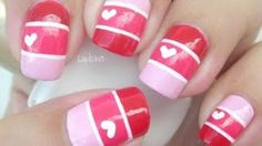 Nail Art - Valentine Color Blocking - Decoracion de uñas, via YouTube.