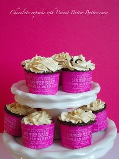 Chocolate Cupcakes with Peanut Butter Buttercream - Blahnik Baker