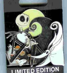Disney JACK SKELLINGTON ZERO NIGHTMARE BEFORE CHRISTMAS NBC WHITE GLOVE LE Pin