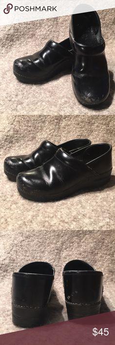 DANSKO black clogs GUC. A few scuffs as pictured.  Shoe bin B. Dansko Shoes Mules & Clogs