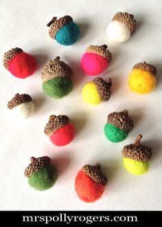 Click here to DIY Felted Acorns.  Complete Blog Instructions & Video from MrsPollyRogers.com