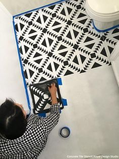 How to Stencil Black & White Bathroom Floor Tiles - VIDEO Tutorial – How to Paint Black & White Bathroom Floor Tiles with Royal Design Studio Stencils & Annie Sloan Chalk Paint – Easy and Affordable DIY Decorating Project for Beginners! Stenciled Tile Floor, Tile Floor Diy, Bathroom Floor Tiles, Paint Floor Tiles, Shower Bathroom, Small Bathroom, Master Bathroom, Bathroom Ideas, Black And White Bathroom Floor