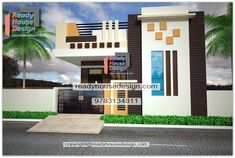 front elevation designs single floor 2225 ft house front elevation design for single floor plan white, yellow and grey color parapet walls steel railing acp design House Balcony Design, Single Floor House Design, Home Stairs Design, Village House Design, Simple House Design, Bungalow House Design, House Front Design, Home Design, Plan Design