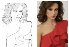 Drawing of Michaela. Shoulder Dress, One Shoulder, Idol, Ruffle Blouse, Drawing, Dresses, Women, Fashion, Gowns