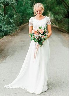 Vintage Wedding Dresses A-Line V-Neck Short Sleeves Chiffon Wedding Dress with Beading Chapel Wedding Dresses, Western Wedding Dresses, Boho Wedding Dress, Bridal Dresses, Wedding Gowns, Short Sleeved Wedding Dress, Wedding Tips, A Line Wedding Dress With Sleeves, Wedding Dresses Short Bride