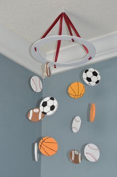 Sports Nursery Mobile - Soccer Baseball Football Basketball  -  by FlutterBunnyBoutique