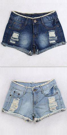 Fashion Ripped Hole Mid Waist Denim Shorts