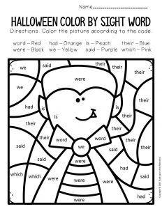Color By Sight Word Halloween Kindergarten Worksheets Halloween Kindergarten Sight Words Kindergarten Kindergarten Worksheets