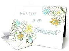 Garden Flowers Friend Bridesmaid Invitation Card