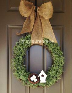 Spring Wreath; burlap bow a little much, but cute concept!