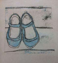 'kitty's shoes' monoprint
