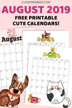 Free Printable August 2019 Calendar - cute calendars and monthly planners for August 2019 and the rest of the year! Free Printable Calendar, Printable Cards, Printable Planner, Planner Stickers, Free Printables, Cat Calendar, 2019 Calendar, World Cat Day, Teacher Planner Free
