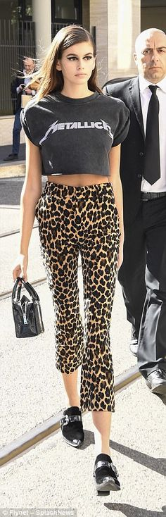 Spot the difference: Kaia Gerber, 16, sported not one but two ensembles for the day as she...