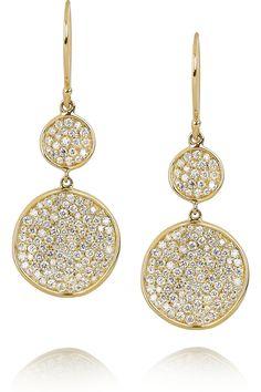 IPPOLITA  Disc 18-karat gold diamond drop earrings. STUNNING.