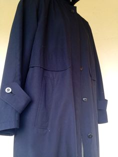 Classic womenswear Vintage black blue trench coat size US 6 by Myfamilytreasure on Etsy