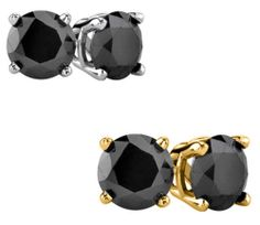 1/8 CT TW Black Diamond Solitaire Sterling Stud Earrings in White or Yellow
