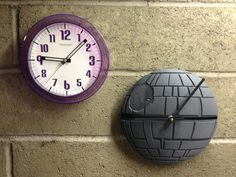Homemade death star clock. Simple to make involving very few tools. I can think of a few people who would appreciate this. Though I might have to make it desk friendly... maybe wooden pegs in the back.