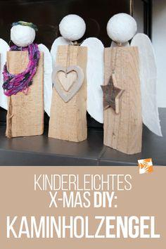 Engel aus Holzscheiten: Kaminholzengel. Selbstgemachtes Weihnachtsgeschenk – kinderleicht! Schritt-für-Schritt-Anleitung für das weihnachtliche Basteln mit Kind. #diy #weihnachten #geschenkidee #weihnachtsdeko #weihnachtsdekoration