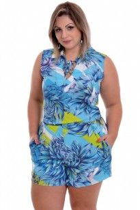 Macaquinho Plus Size Floral Blue
