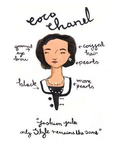 emma block style icon series - The Emma Block Style Icon Series provides adorable renditions of timeless fashionistas. Created by the London-based freelance illustrator Emma Bloc. Estilo Coco Chanel, Coco Chanel Fashion, Chanel Style, Chanel Cruise, Poppy Delevingne, Claudia Schiffer, Fashion Quotes, Fashion Art, Fashion History