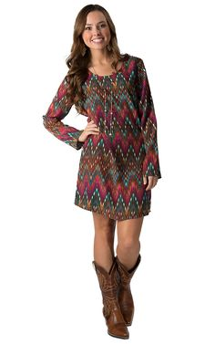 b19dbdeb4e Rock 47 by Wrangler Women s Fuchsia  amp  Teal Ikat Print Long Sleeve Dress  Country Western