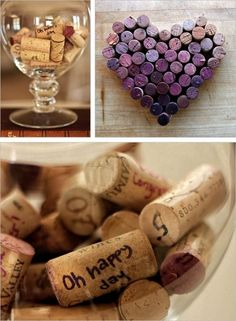 Write a memory or quote from a great night on the wine bottle's cork-collect them in a huge vase for impact and memory storage :)