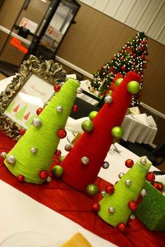 Yarn Trees Centerpiece- Lime, Red, White, and Silver Christmas Party