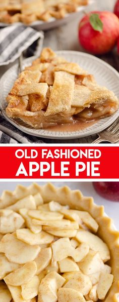 Old Fashioned Apple Pie is a classic dessert recipe made just like your grandma. Tart apples are spiced with cinnamon and layered in a flaky pie crust for the perfect fall treat. #ApplePie… More Brunch Recipes, Sweet Recipes, Breakfast Recipes, Dessert Recipes, Breakfast Ideas, Yummy Recipes, Dinner Recipes, Cooking Recipes, Old Fashioned Apple Pie