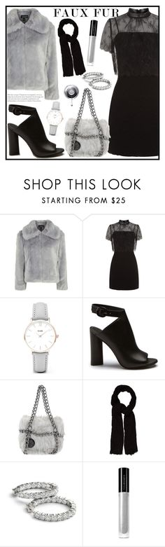"""""""Wow Factor: Faux Fur"""" by tlb0318 ❤ liked on Polyvore featuring Topshop, Sandro, CLUSE, Tosca Blu, Maje and Illamasqua"""