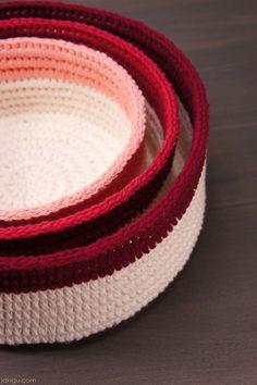 Coiled Crochet Stacking Baskets – JaKiGu Crochet Pattern – JaKiGu