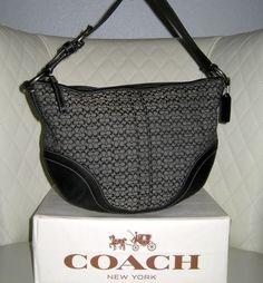 I'm auctioning '1 COACH Soho Black/Gray Mini Signature Hobo ' on #tophatter