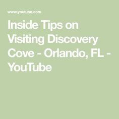 Inside Tips on Visiting Discovery Cove - Orlando, FL Discovery Cove Orlando, Orlando Airport, Buy Tickets Online, Florida, Tips, Youtube, Advice, The Florida, Youtubers