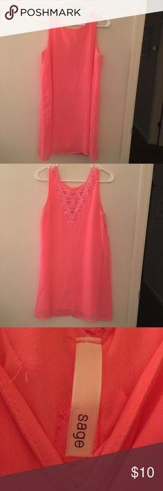 Neon pink mini dress Neon pink mini dress with back lace detailing sage Dresses Mini