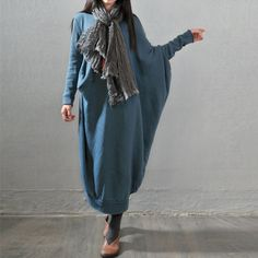 Women autumn and winter long sleeve sweater loose dress - Buykud - 1
