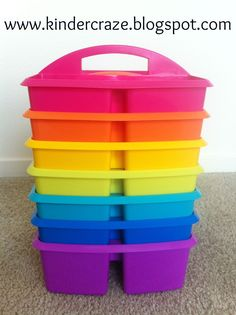 Caddies to use as table bins in tropical colors. Love the bright colors!