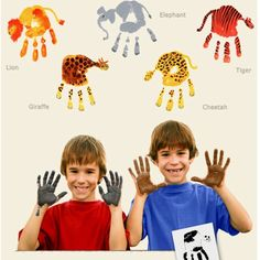We need to update our family animal painting...here are some great handprint animal ideas
