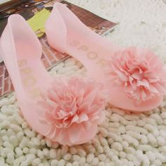 Jelly Pink Rosette Flat Open Toe Bridesmaid Cocktail Sandals Shoes SKU-1091031