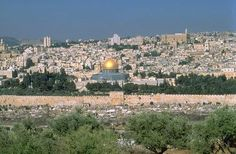 From the Mount of Olives across the Kidron Valley to Jerusalem & the Eastern Gate, Jesus entered the Holy City on Palm Sunday. (Jesus would have seen the Temple, not a Mosque)