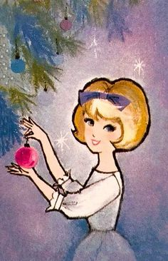 1960s vintage Christmas mid-century modern blonde woman in white dress decorating tree