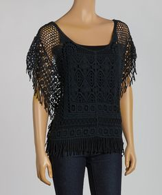 Look at this Cecico Black Crocheted Scoop Neck Top on #zulily today!