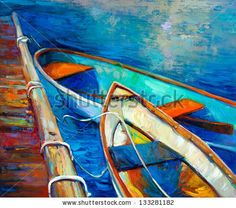 Original oil painting of boat and jetty(pier) on canvas.Sunset over ocean.Modern Impressionism by Boyan Dimitrov, via Shutterstock