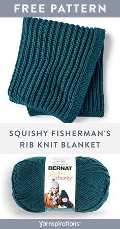 Free knitting pattern Bernat Softee Chunky Squishy Fisherman's Rib Knit Blanke … Easy Blanket Knitting Patterns, Easy Knit Blanket, Free Baby Blanket Patterns, Knitted Afghans, Easy Knitting, Knitted Blankets, Beginner Knitting Blanket, Chunky Crochet Blanket Pattern Free, Crochet Pillow