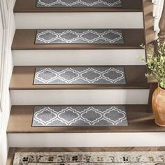 Gaviota Trellis Vibrant and Soft Stair Tread Carpet Staircase, Carpet Stair Treads, Staircase Remodel, Staircase Makeover, Staircase Ideas, Staircase Design, Foyers, Stair Tread Rugs, Stair Slide