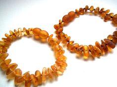 Set of 2 Raw unpolished Baltic Amber Baby Teething Bracelets.