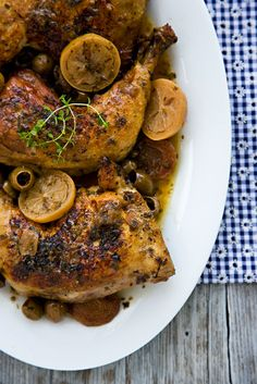 Mediterranean Chicken with Olives, Preserved Lemon, Apricots, Chardonnay, and Garlic.