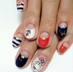 Nautical Hello Kitty nails