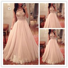 Charming Blush Pink Lace Tulle Prom Dress,Sexy See Through Beading Evening Dress,Short Sleeves A-Line Prom Gown