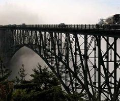 Yikes. I don't think I'd be able to cross this bridge.  Deception Pass Bridge, Washington  If the drive over this foggy strait in the Puget Sound isn't particularly scary to you, try walking over the narrow pedestrian lane at the edge of the bridge. That's where you'll find especially hair-raising views of the rushing water directly below.
