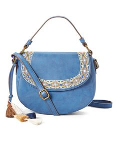 Look what I found on #zulily! Blue Embroidered Crossbody Bag #zulilyfinds